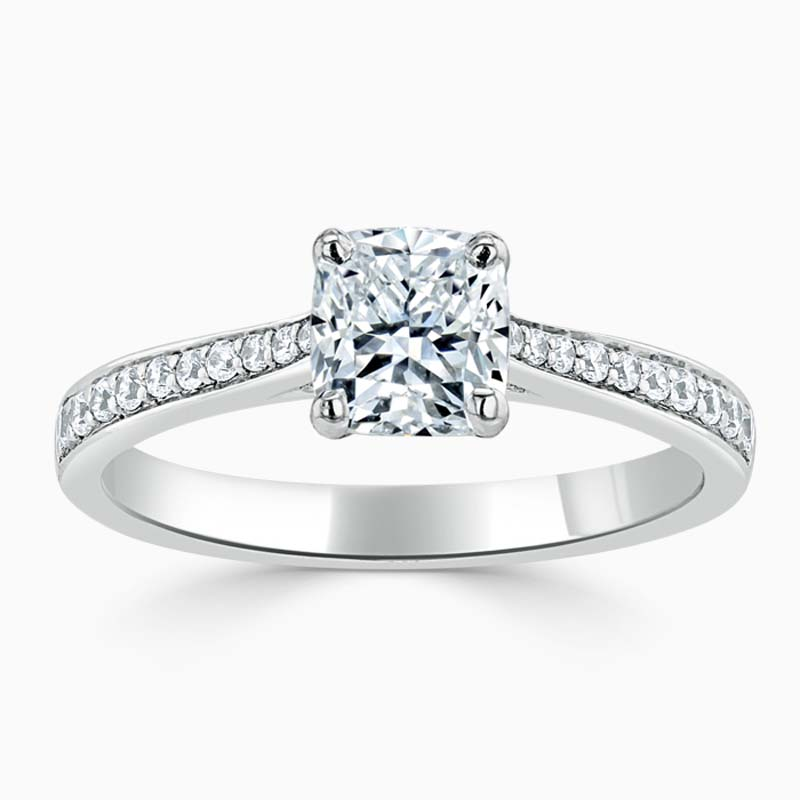 18ct White Gold Cushion Cut Tapered Pavé Engagement Ring