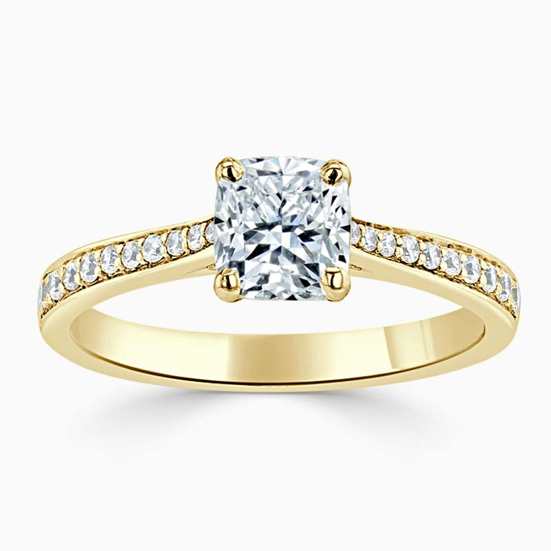 18ct Yellow Gold Cushion Cut Tapered Pavé Engagement Ring