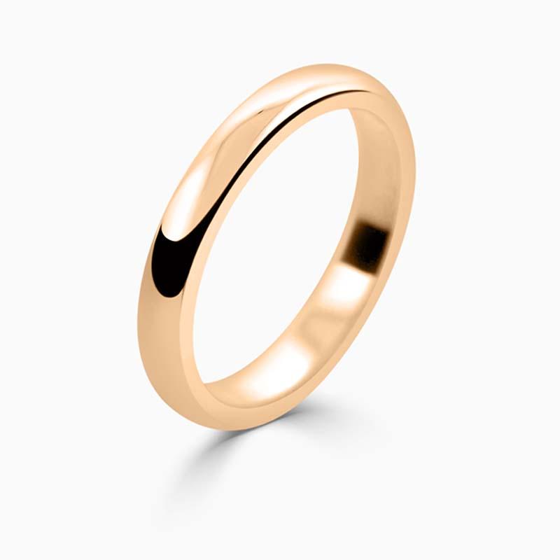 18ct Rose Gold 2.5mm D Shape Medium Weight Wedding Ring