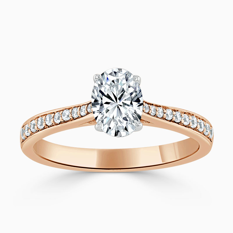 18ct Rose Gold Oval Shape Tapered Pavé Engagement Ring