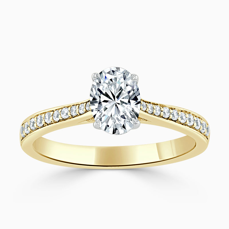 18ct Yellow Gold Oval Shape Tapered Pavé Engagement Ring
