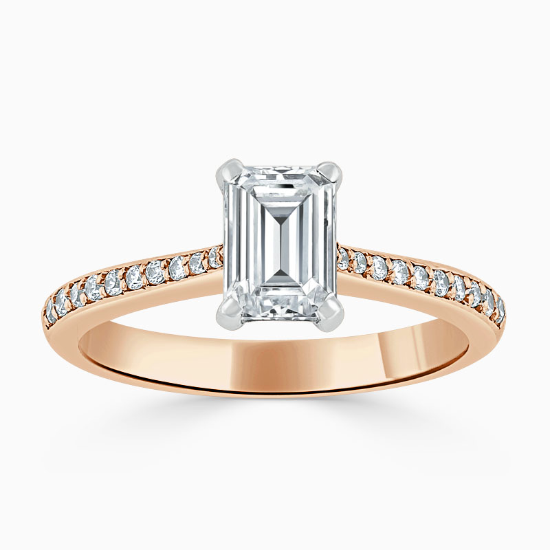 18ct Rose Gold Emerald Cut Tapered Pavé Engagement Ring