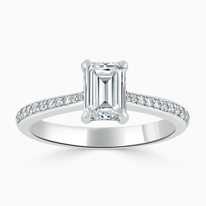 18ct White Gold Emerald Cut Tapered Pavé Engagement Ring