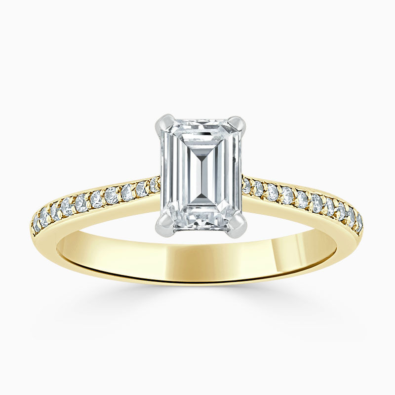 18ct Yellow Gold Emerald Cut Tapered Pavé Engagement Ring