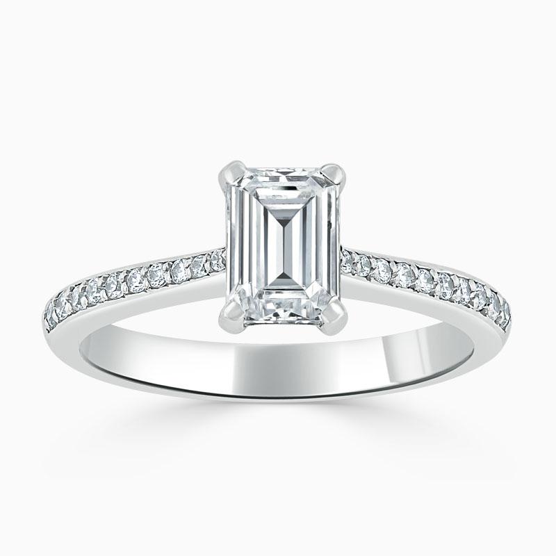 Platinum Emerald Cut Tapered Pavé Engagement Ring