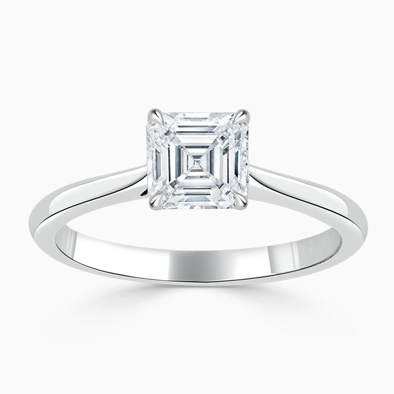 18ct White Gold Asscher Cut Classic Wedfit Engagement Ring