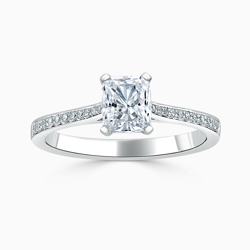 18ct White Gold Radiant Cut Tapered Pavé Engagement Ring
