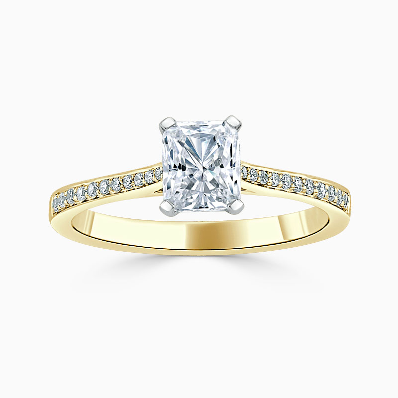 18ct Yellow Gold Radiant Cut Tapered Pavé Engagement Ring