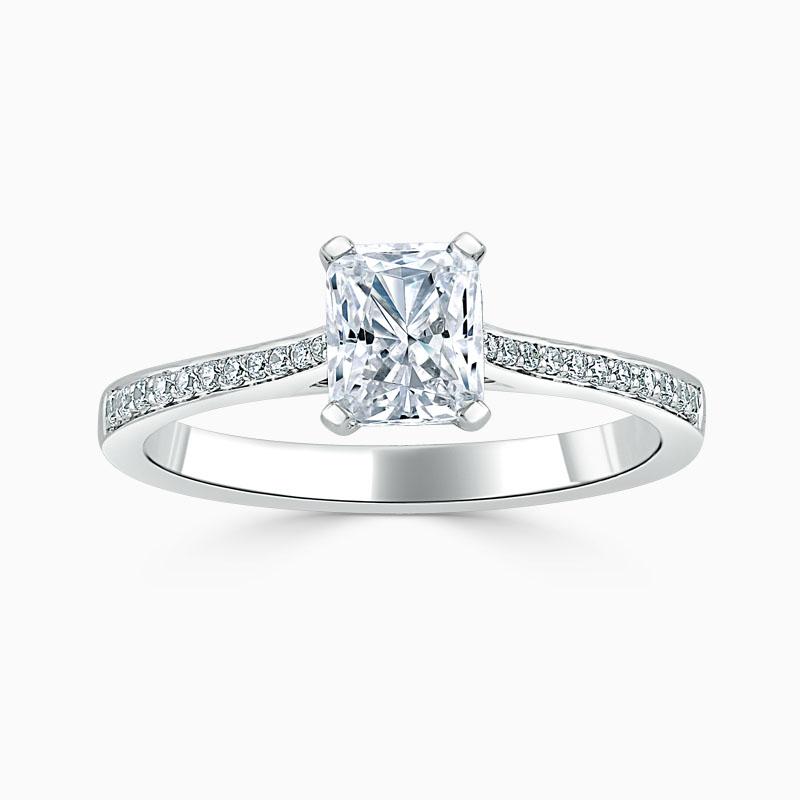 Platinum Radiant Cut Tapered Pavé Engagement Ring