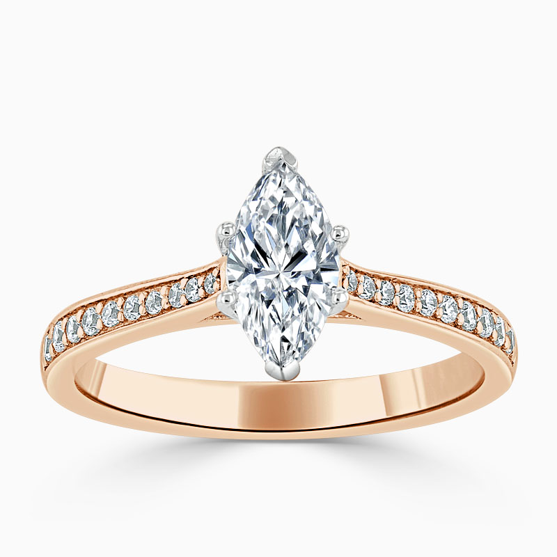 18ct Rose Gold Marquise Cut Tapered Pavé Engagement Ring