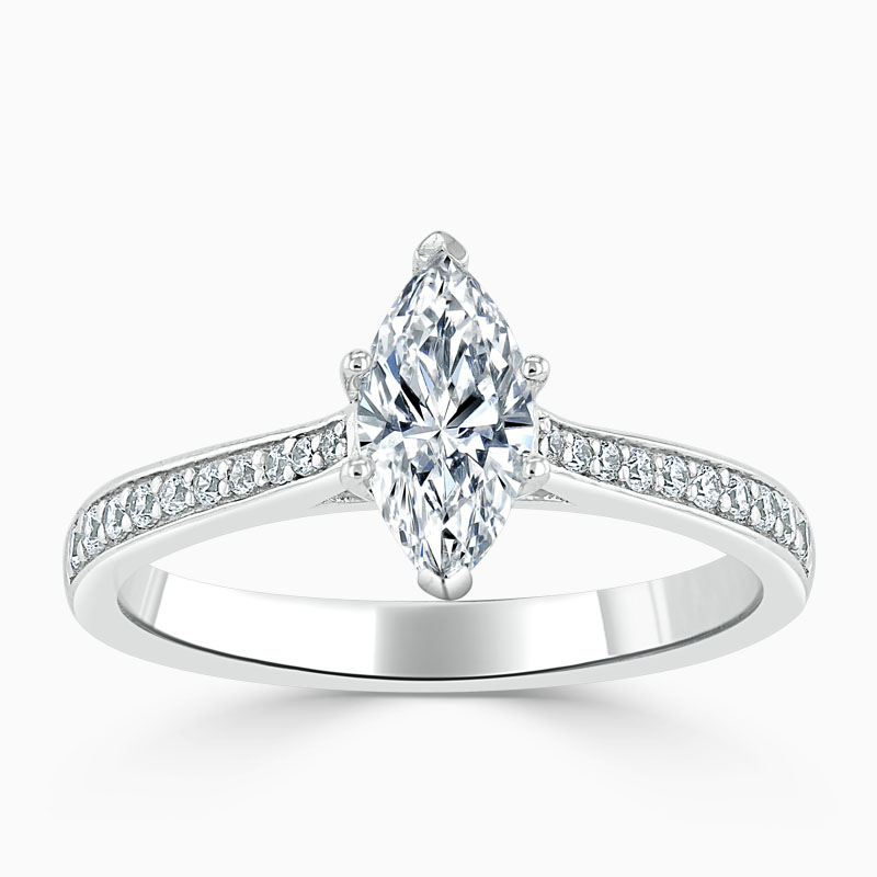 18ct White Gold Marquise Cut Tapered Pavé Engagement Ring