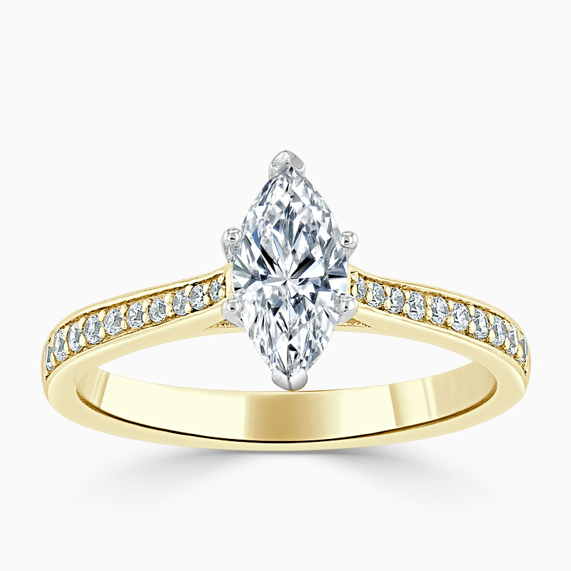 18ct Yellow Gold Marquise Cut Tapered Pavé Engagement Ring