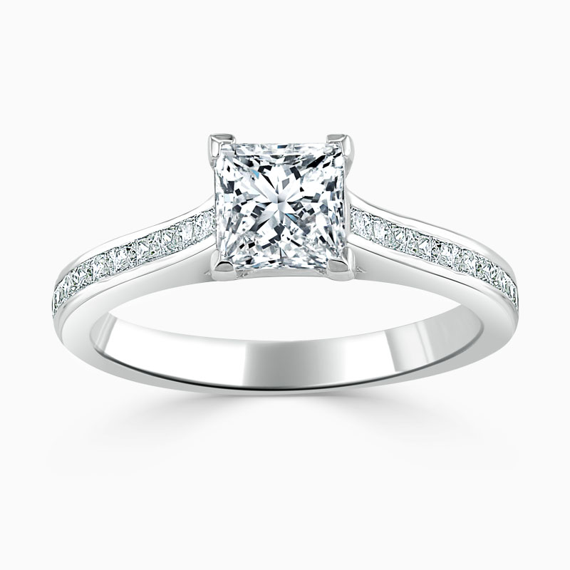 Platinum Princess Cut Princess with Princess Shoulders Engagement Ring