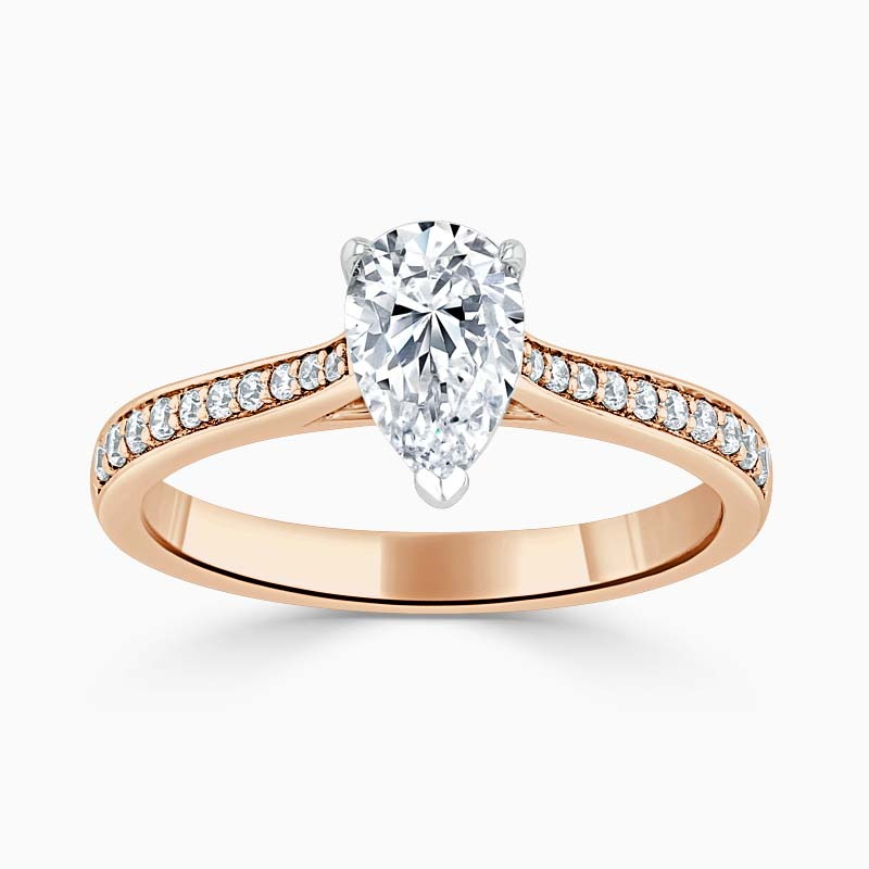 18ct Rose Gold Pear Shape Tapered Pavé Engagement Ring