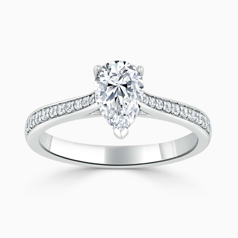 18ct White Gold Pear Shape Tapered Pavé Engagement Ring