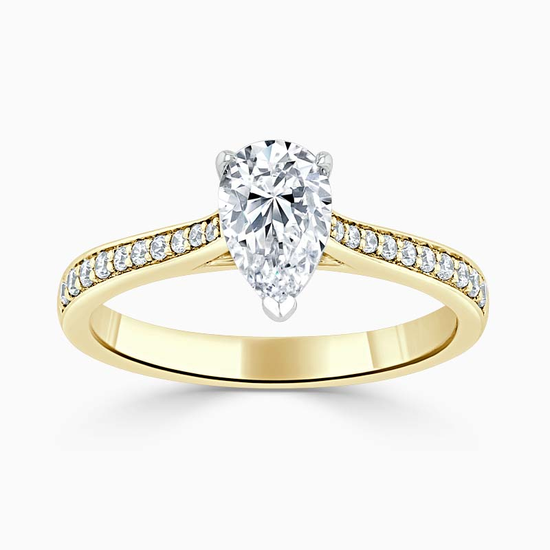 18ct Yellow Gold Pear Shape Tapered Pavé Engagement Ring
