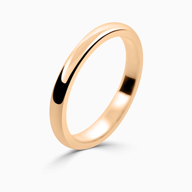 18ct Rose Gold 2mm D Shape Medium Weight Wedding Ring