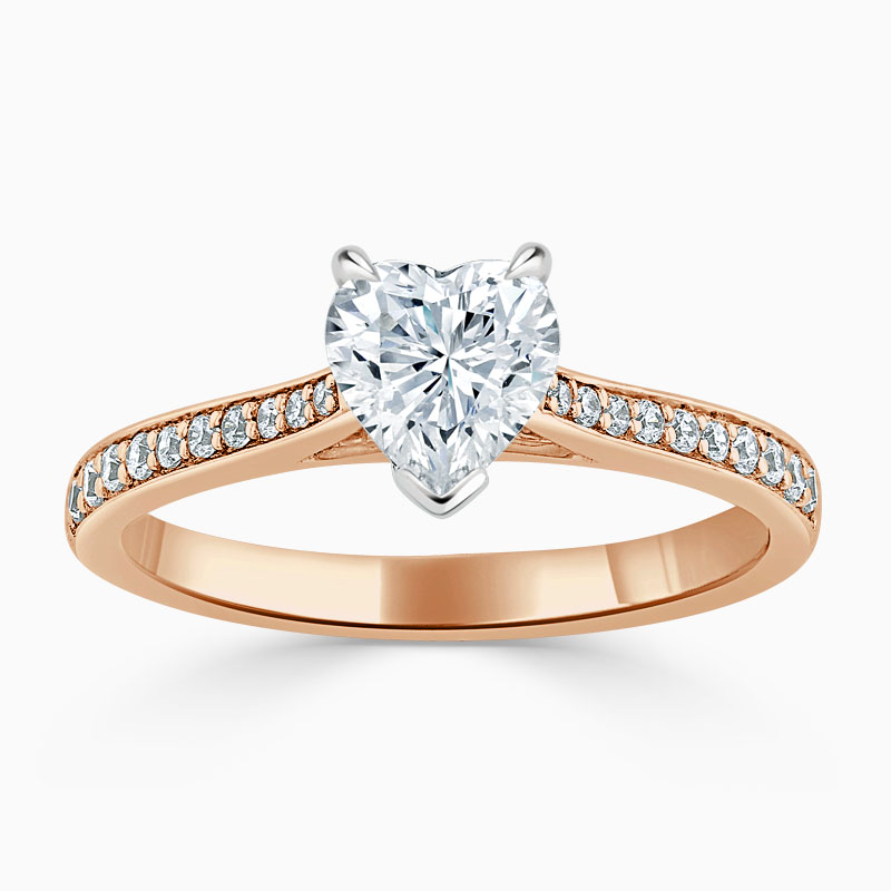 18ct Rose Gold Heart Shape Tapered Pavé Engagement Ring
