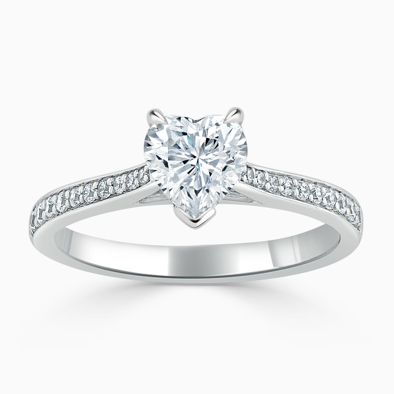 18ct White Gold Heart Shape Tapered Pavé Engagement Ring
