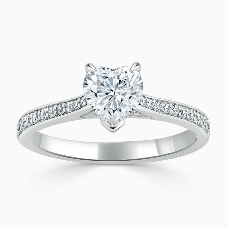 Platinum Heart Shape Tapered Pavé Engagement Ring