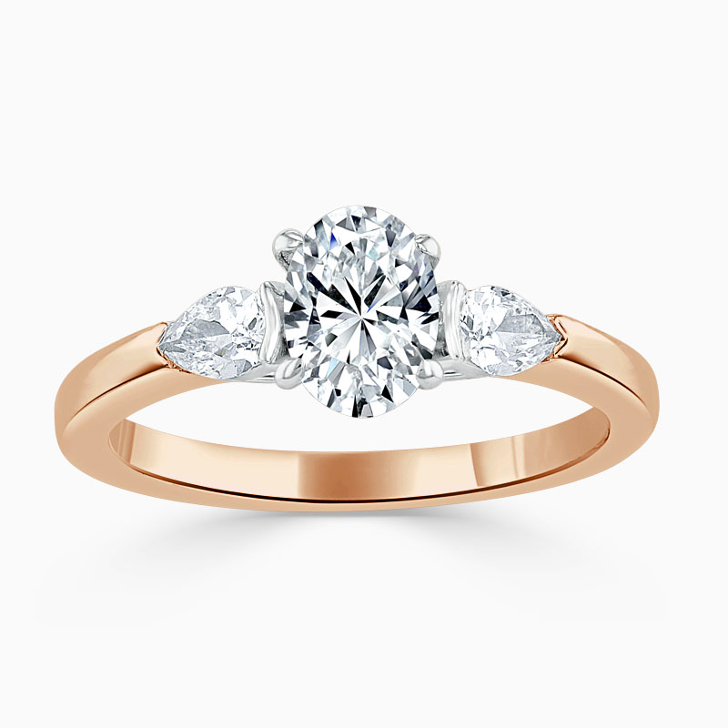 18ct Rose Gold Oval Shape 3 Stone with Pears Engagement Ring