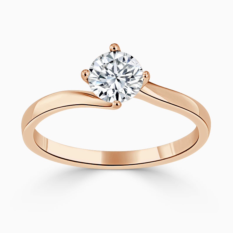 18ct Rose Gold Round Brilliant Twist Engagement Ring