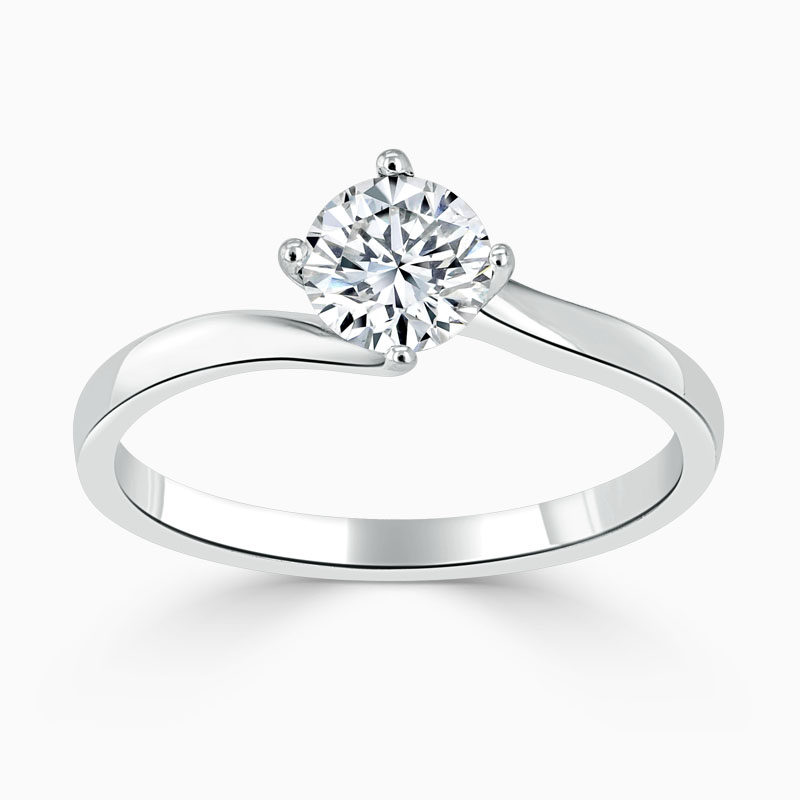 18ct White Gold Round Brilliant Twist Engagement Ring