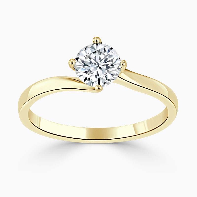 18ct Yellow Gold Round Brilliant Twist Engagement Ring