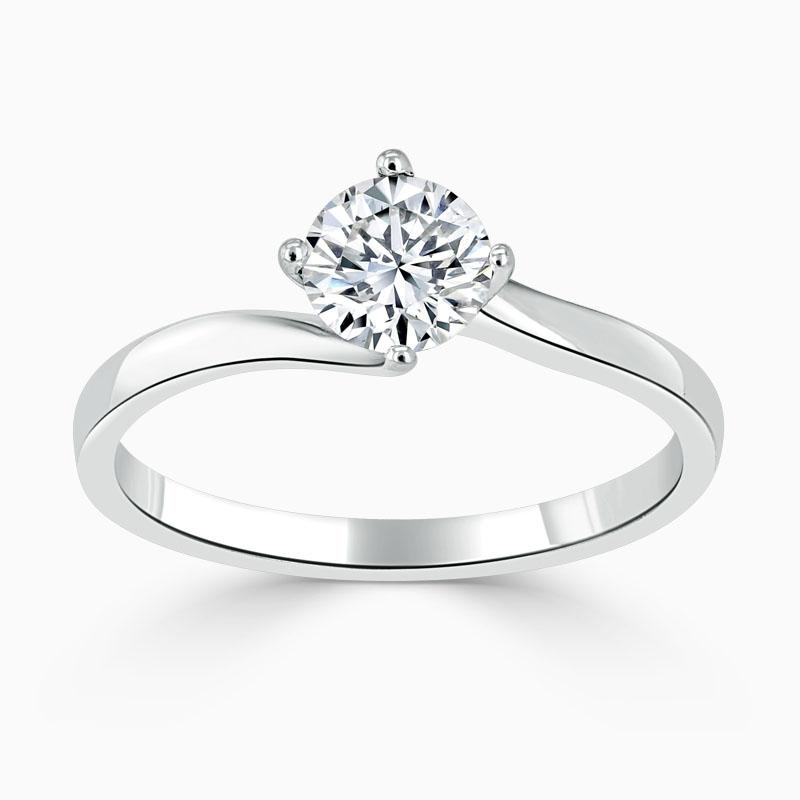 Platinum Round Brilliant Twist Engagement Ring
