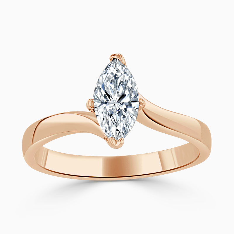 18ct Rose Gold Marquise Cut Twist Engagement Ring