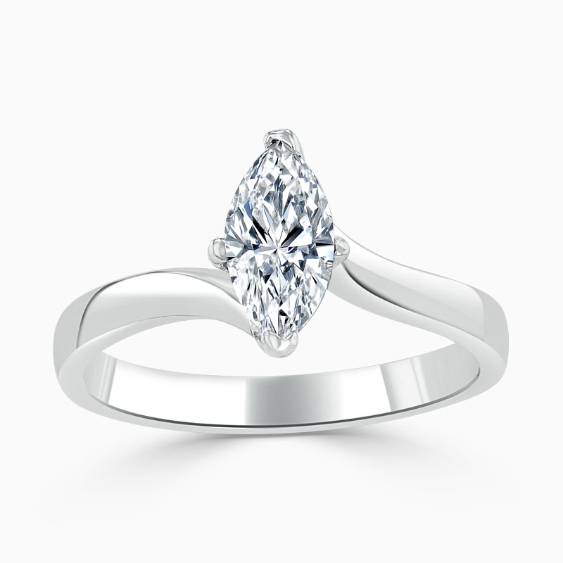 18ct White Gold Marquise Cut Twist Engagement Ring