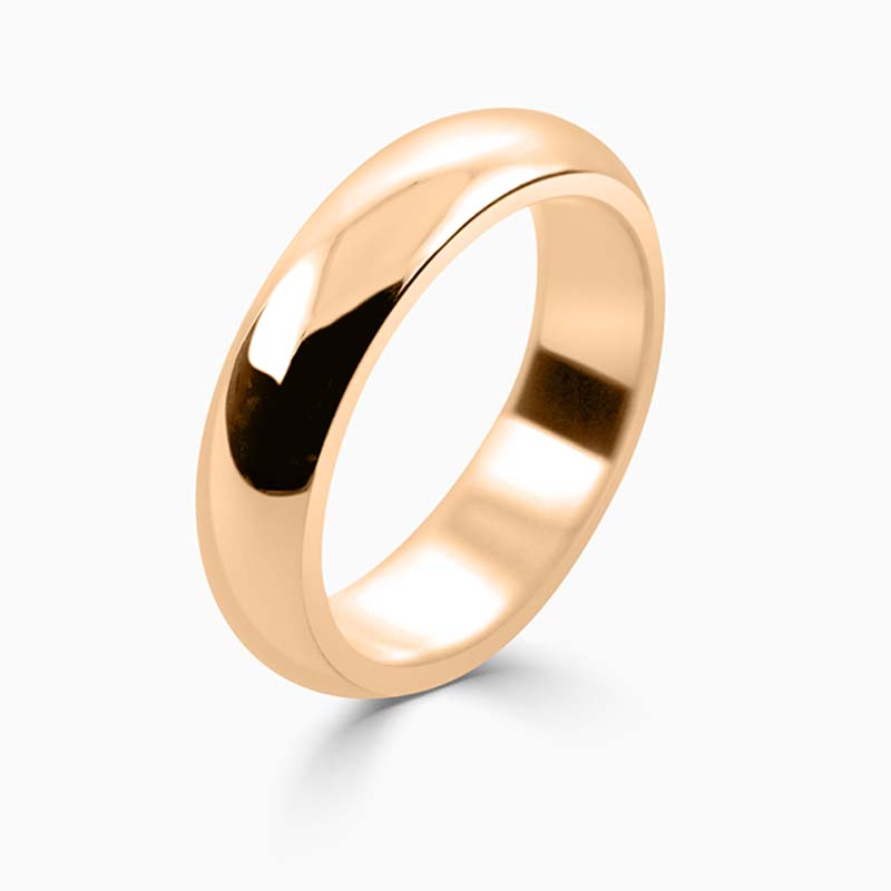18ct Rose Gold 5mm D Shape Heavy Weight Wedding Ring