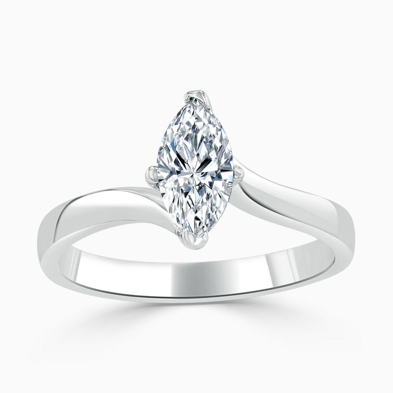 Platinum Marquise Cut Twist Engagement Ring