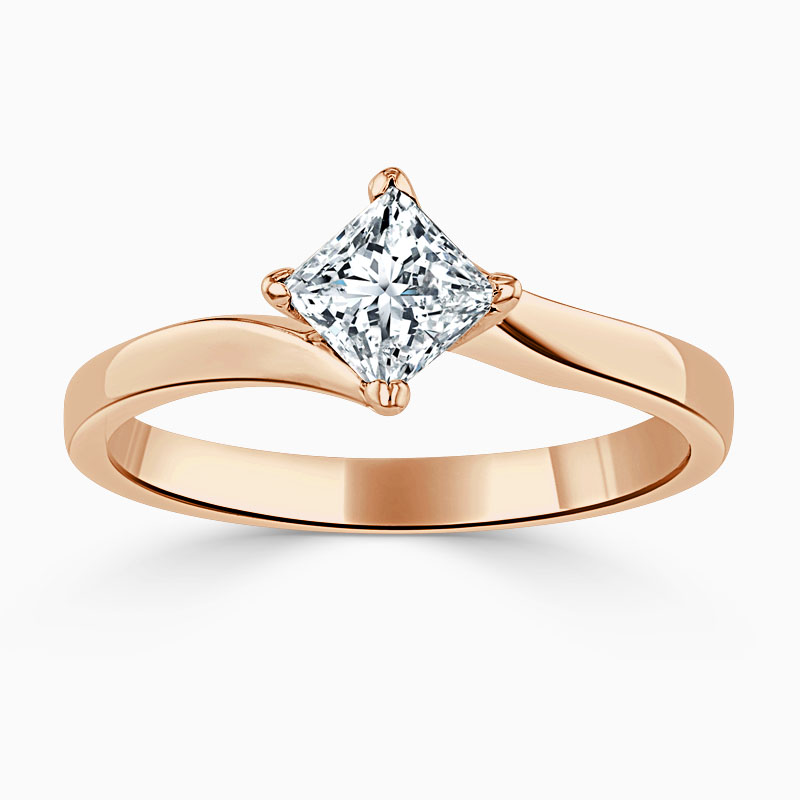 18ct Rose Gold Princess Cut Twist Engagement Ring