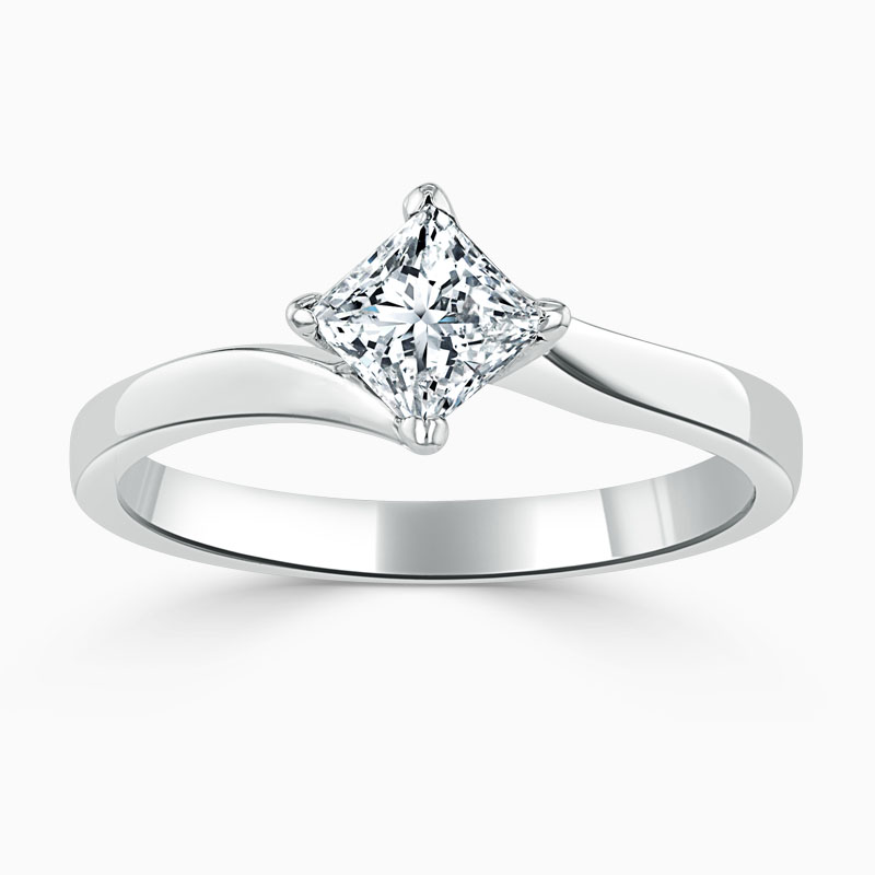 18ct White Gold Princess Cut Twist Engagement Ring