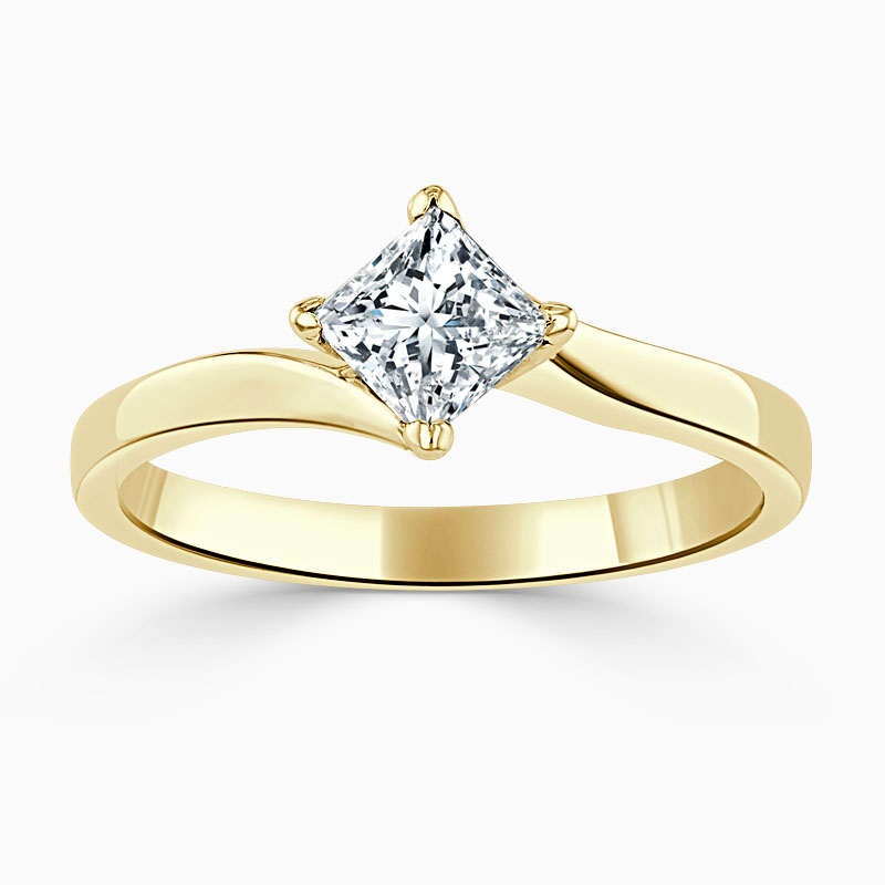 18ct Yellow Gold Princess Cut Twist Engagement Ring