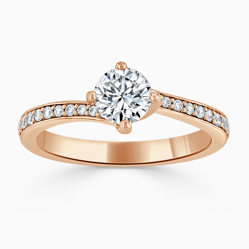 18ct Rose Gold Round Brilliant Twist Pavé Engagement Ring