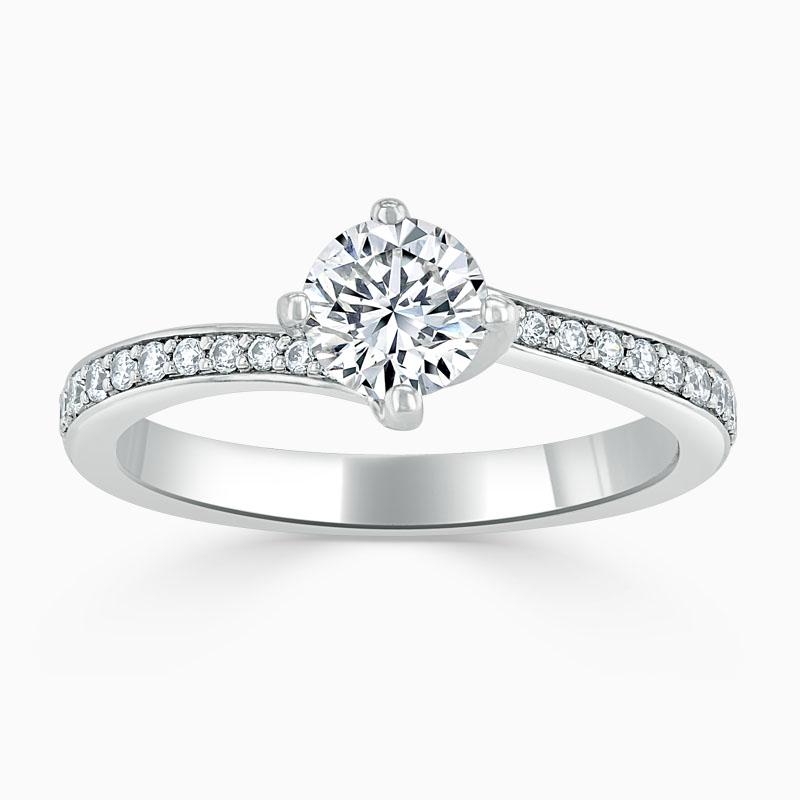 18ct White Gold Round Brilliant Twist Pavé Engagement Ring