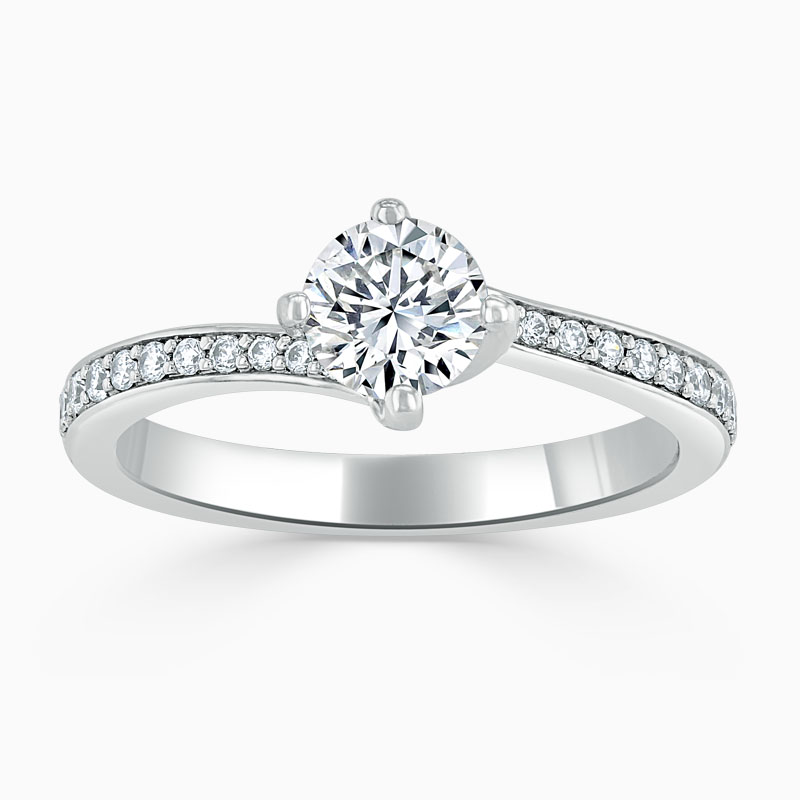 18ct White Gold Round Brilliant Twist Pavé Engagement Ring