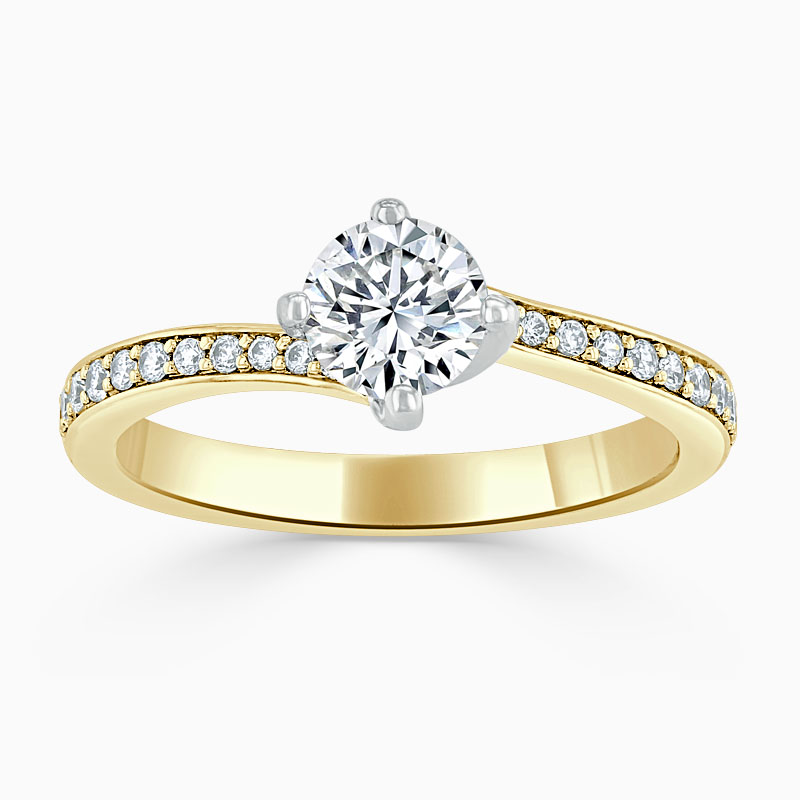 18ct Yellow Gold Round Brilliant Twist Pavé Engagement Ring