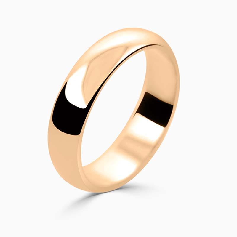 18ct Rose Gold 5mm D Shape Medium Weight Wedding Ring