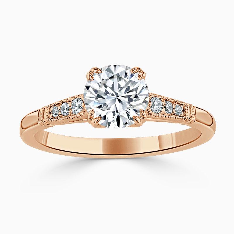 18ct Rose Gold Round Brilliant Vintage Engagement Ring
