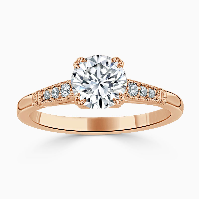 18ct Rose Gold Round Brilliant Vintage Engagement Ring