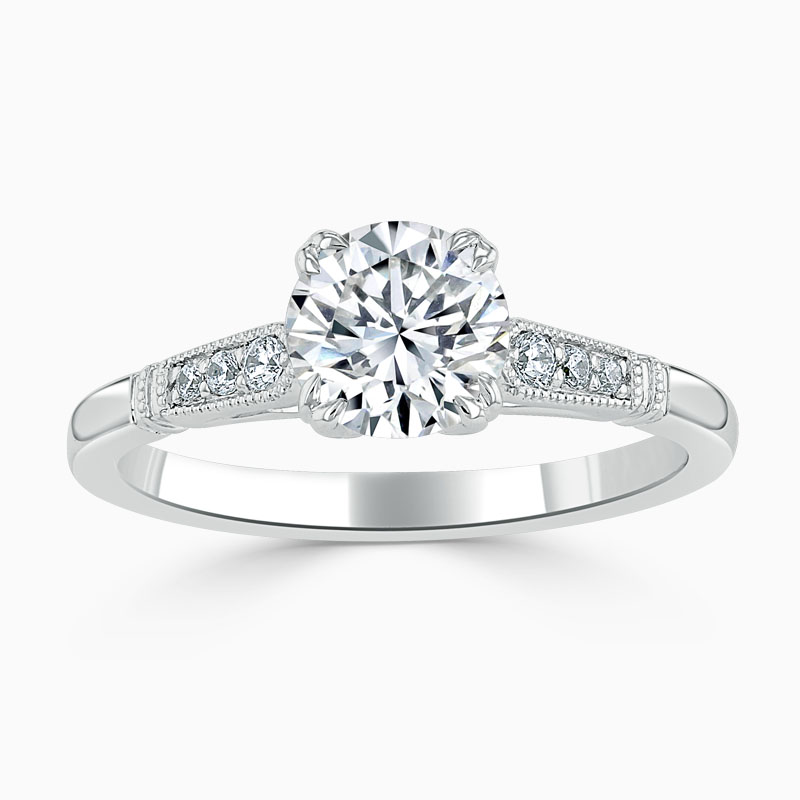 18ct White Gold Round Brilliant Vintage Engagement Ring