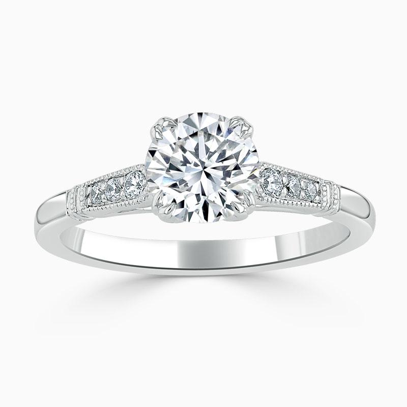 18ct White Gold Round Brilliant Vintage Engagement Ring