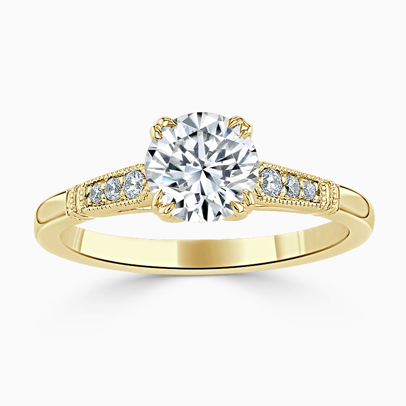 18ct Yellow Gold Round Brilliant Vintage Engagement Ring