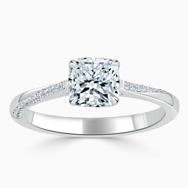 18ct White Gold Cushion Cut Vortex Engagement Ring