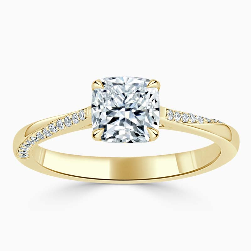 18ct Yellow Gold Cushion Cut Vortex Engagement Ring