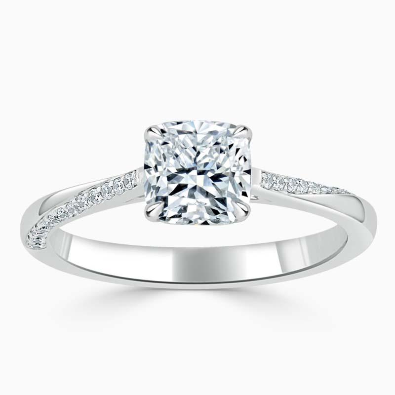 Platinum Cushion Cut Vortex Engagement Ring