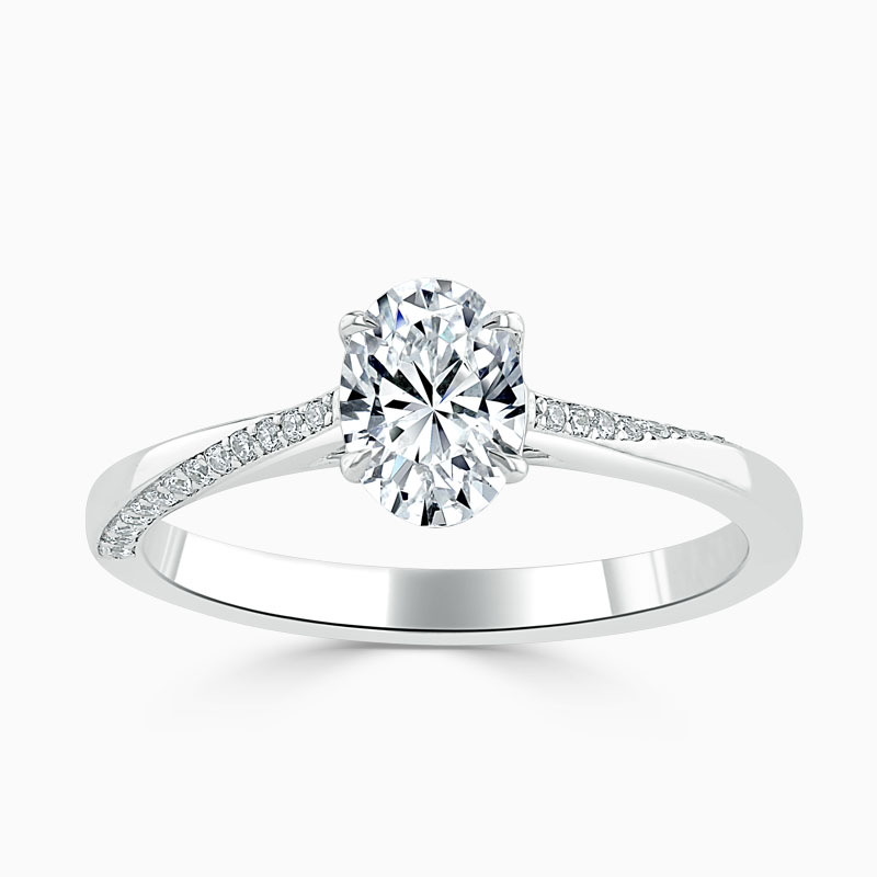 Platinum Oval Shape Vortex Engagement Ring